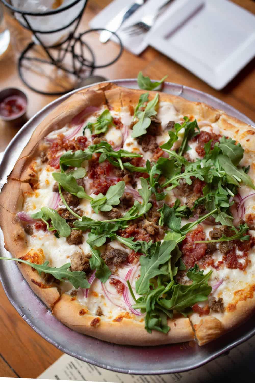 Blaze pizza with arugula in Bar Harbor
