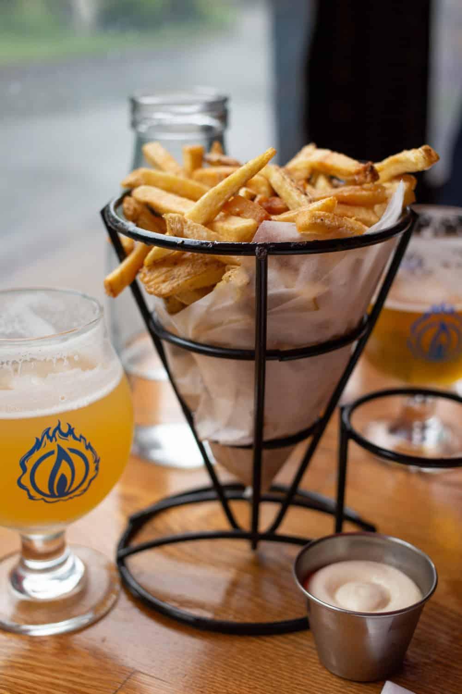 Blaze duckfat fries and beer in Bar Harbor