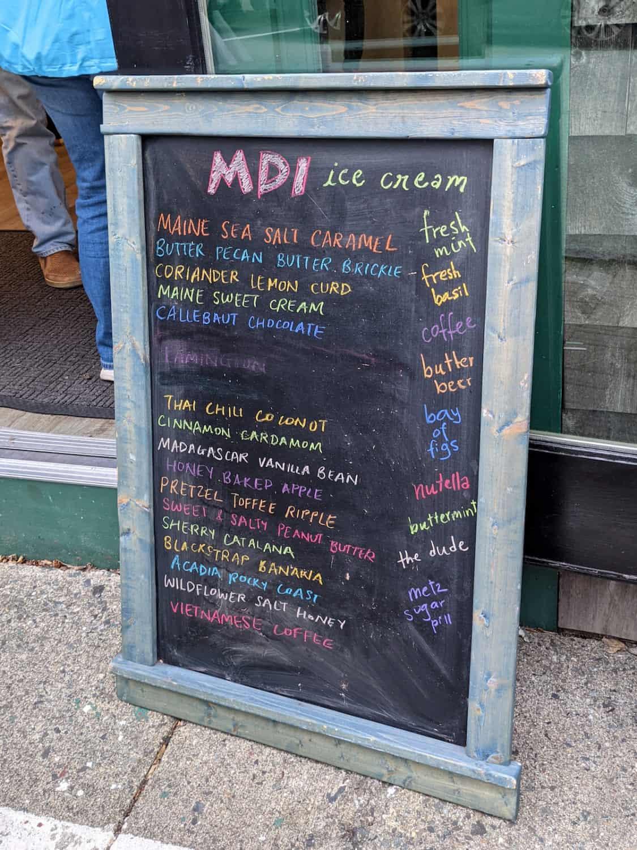 Mt Desert Ice Cream flavor board in Bar Harbor