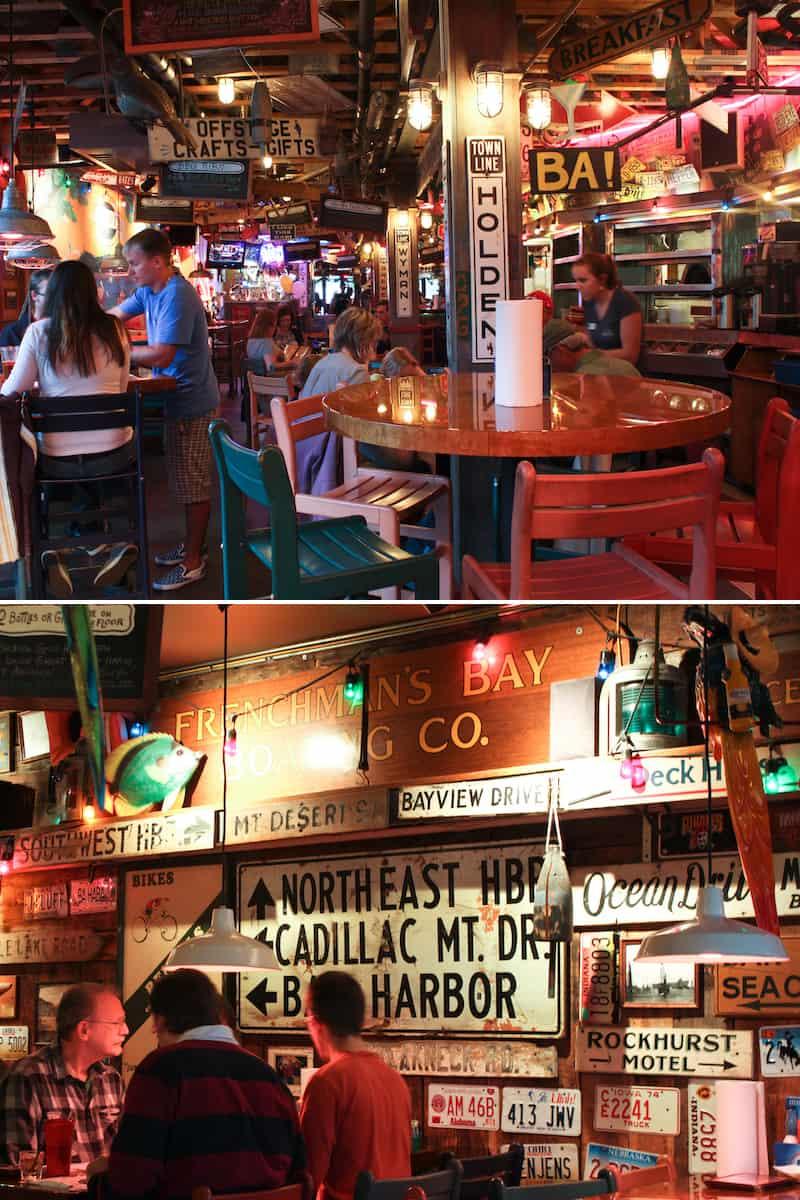 interior of Geddy's restaurant, Bar Harbor Maine