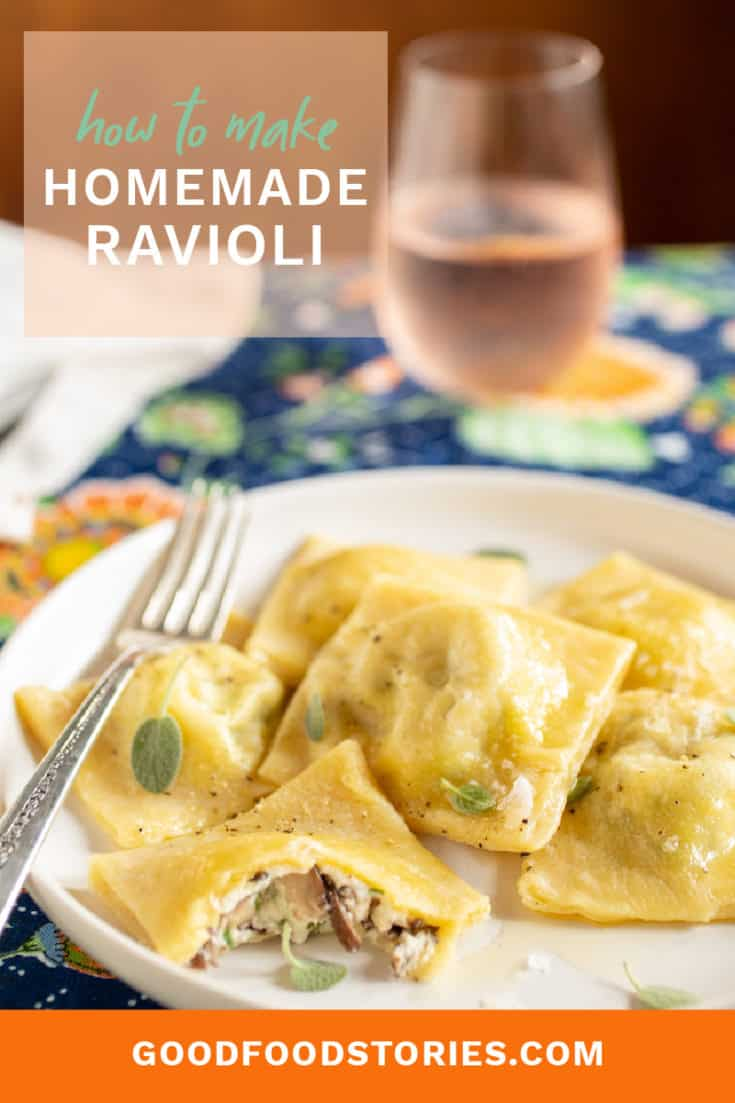 Here's how to make homemade ravioli without a pasta maker or stand mixer attachments. Try our recipe for mushroom filling or use your favorite! #homemadepasta #ravioli #homemaderavioli