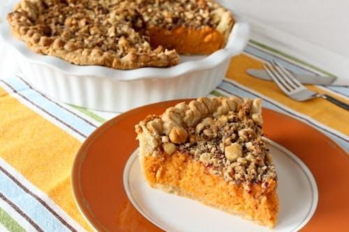 sweet potato pie with hazelnut streusel