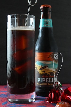 For a holiday beer cocktail with festive flavors, mix coffee porter, amaretto, and cherry Heering liqueur. It's a combination that will give you good cheer! #beercocktail #holidaycocktail #holidaydrink #coffeeporter