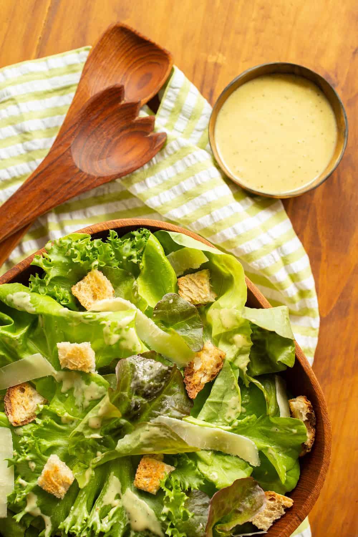 caesar salad and dressing