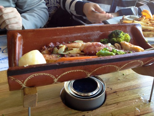 grilled octopus at sol-mar restaurant, newark