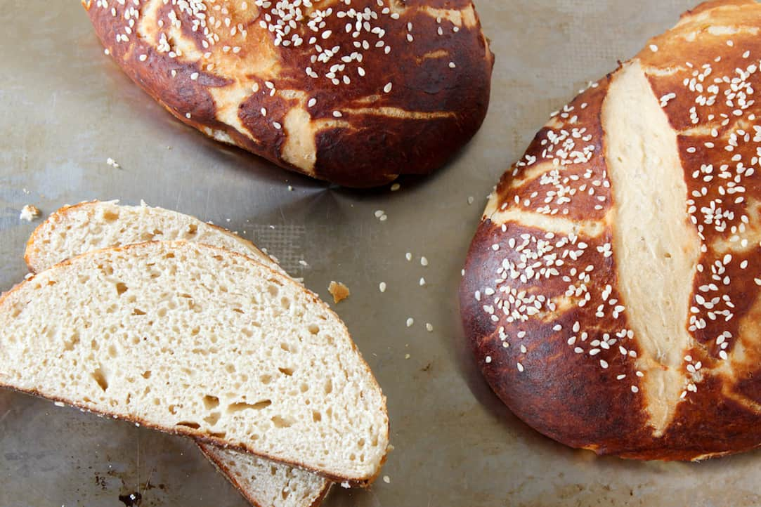 pretzel bread and pretzel roll recipe, via goodfoodstories.com