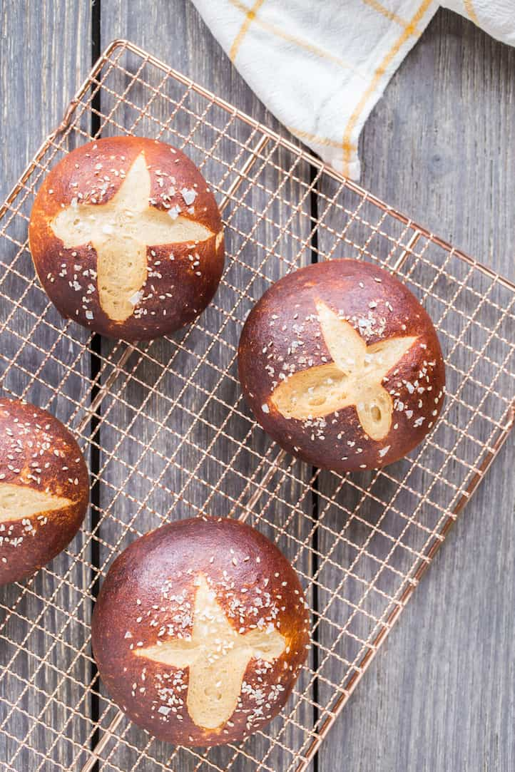Pretzel bread is a perfect introduction for the beginning bread baker and pretzel maker: a crusty, glossy crust and chewy interior with no twisting!