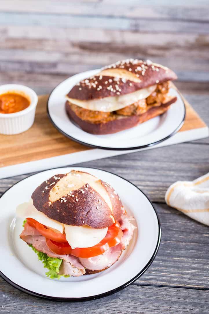 pretzel bread sandwiches