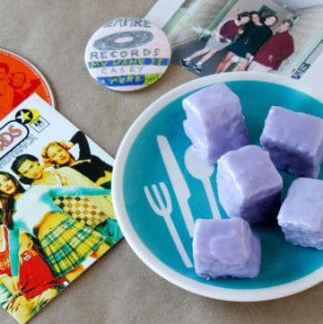 blueberry petits fours in honor of Empire Records Rex Manning Day