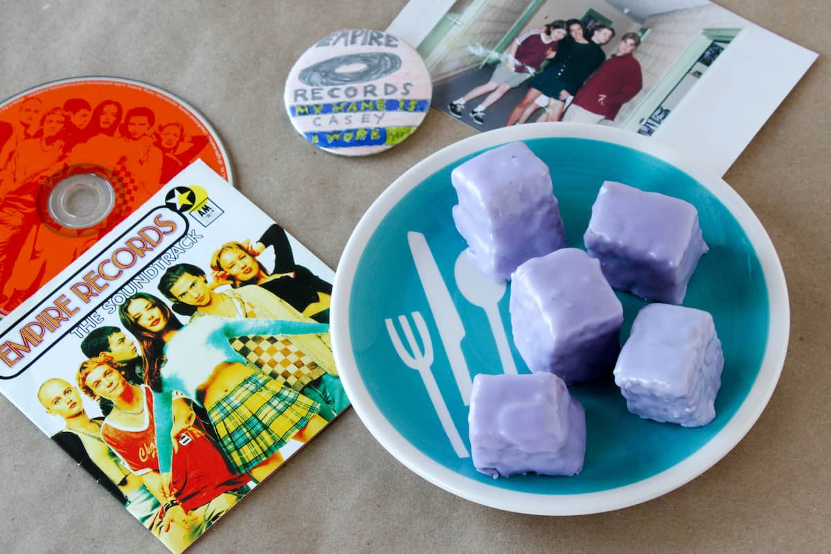 blueberry petit fours made in honor of Empire Records Rex Manning Day