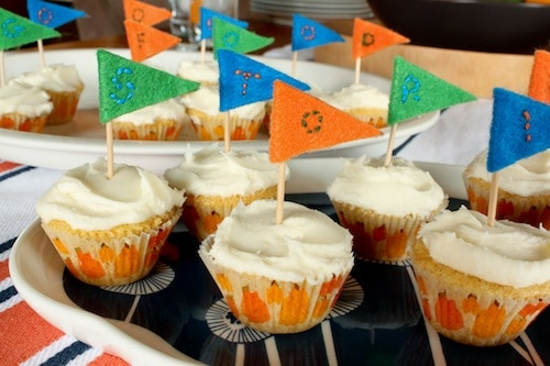 felt flag cupcake toppers