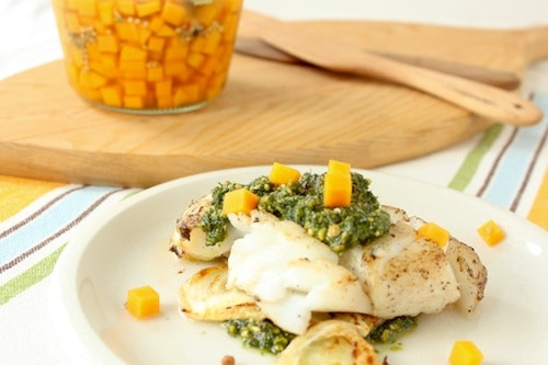 Pan Roasted Cod with Pickled Butternut Squash via goodfoodstories.com