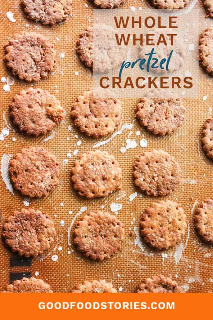 Whole wheat pretzel crackes are the all-natural version of Town House pretzel crackers - they're easy to make and taste better than the store brand. #pretzels #crackers #homemadecrackers