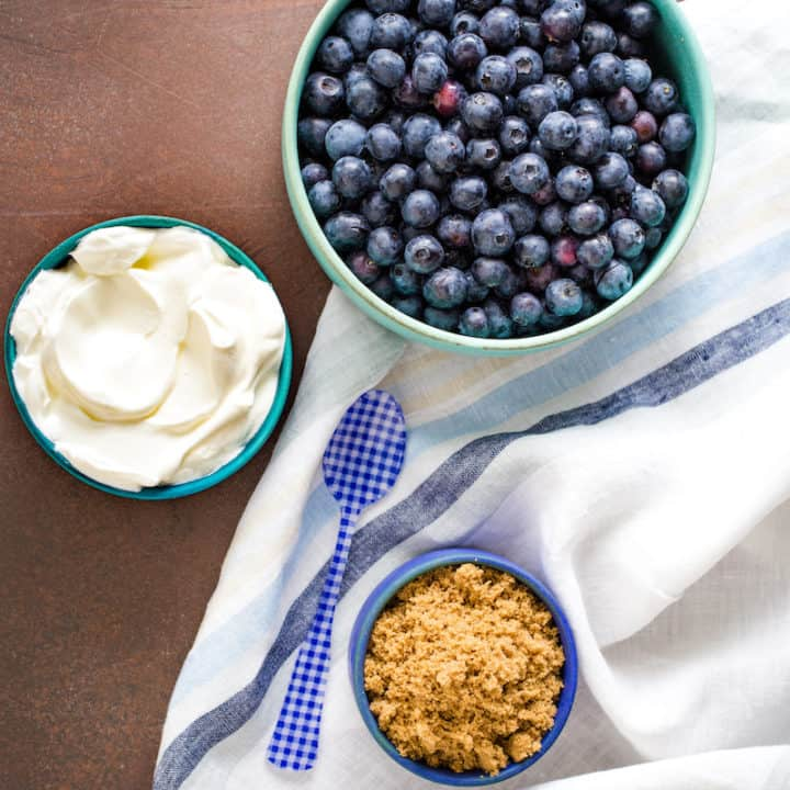 Blueberries and Sour Cream with Brown Sugar