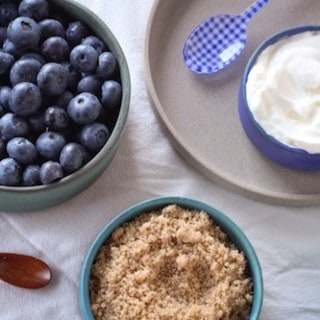blueberries, sour cream, and brown sugar, via goodfoodstories.com