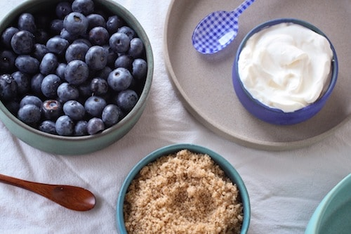 blueberries, sour cream, and brown sugar, via www.www.goodfoodstories.com