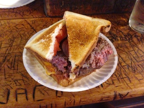 Louis' Lunch hamburger, via goodfoodstories.com