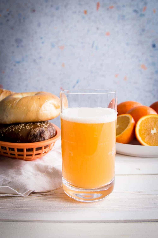orange juice shandy with bagels