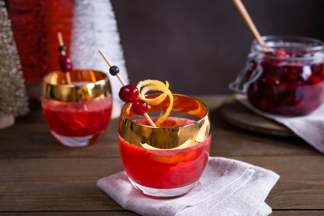 spiced cranberry and bourbon cocktail