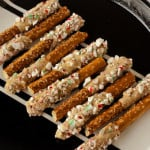 Candy Cane-Coated Caramelized White Chocolate Pretzels