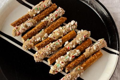 Candy Cane-Coated Caramelized White Chocolate Pretzels