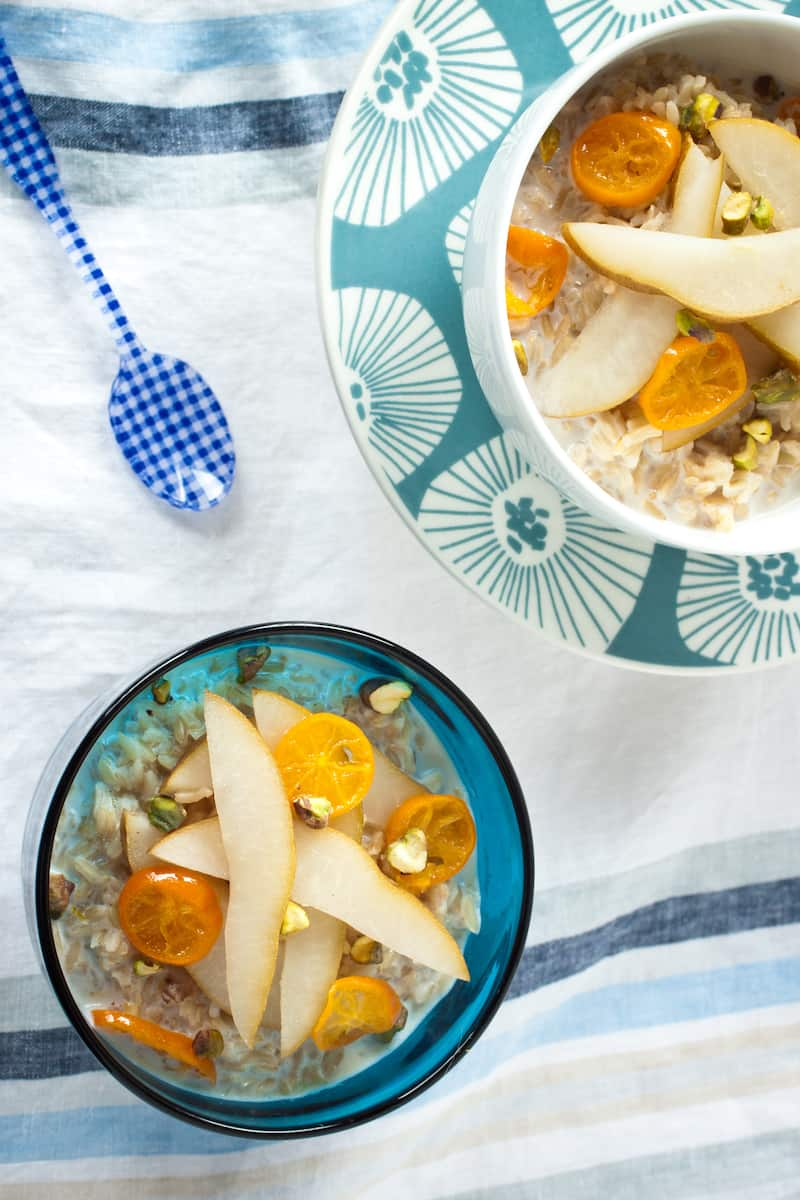 breakfast rice with pears and kumquats from the cookbook Whole Grain Mornings