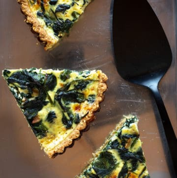 For brunch or lunch, a caramelized onion tart with spinach and Gruyere is a showstopper.