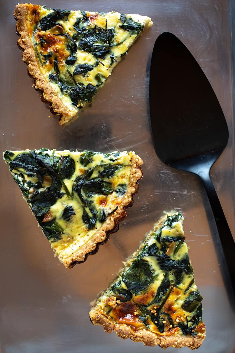 Caramelized Onion Tart with Spinach and Gruyere