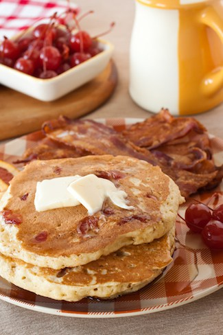 Old fashioned pancakes with maple whisky and maraschino cherries old fashioned pancakes via goodfoodstories forumfinder Images