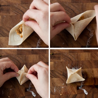 how to fold square wonton dumplings, via www.www.goodfoodstories.com