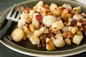 scallops with bacon and celery root