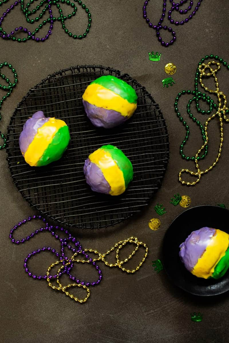 Mardi Gras King Cake Doughnuts For Bon Temps at Home