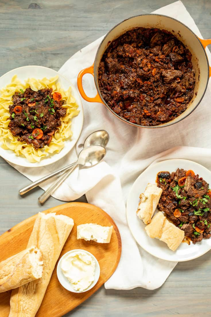 Recreate the famous boeuf en daube recipe from Virginia Woolf's To the Lighthouse with this savory French beef stew with red wine. #beefstew #redwine #comfortfood #potroast