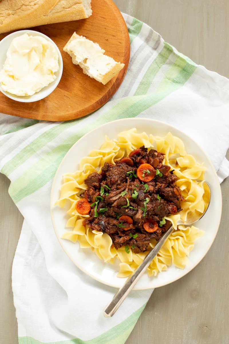 Boeuf en Daube, or French beef stew, is inspired by Virginia Woolf's To the Lighthouse. But it's perfect comfort food that feels just a little fancy. #beefstew