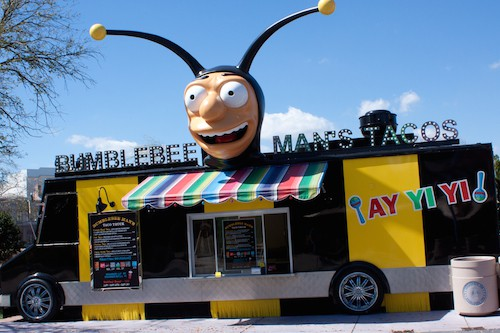 Simpsons Bumblebee Man taco truck at Universal Studios Florida, via www.www.goodfoodstories.com