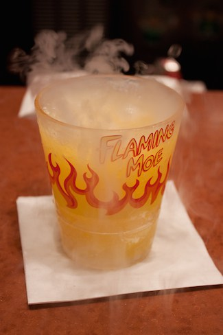 Simpsons Flaming Moe drink at Universal Studios Florida, via www.www.goodfoodstories.com