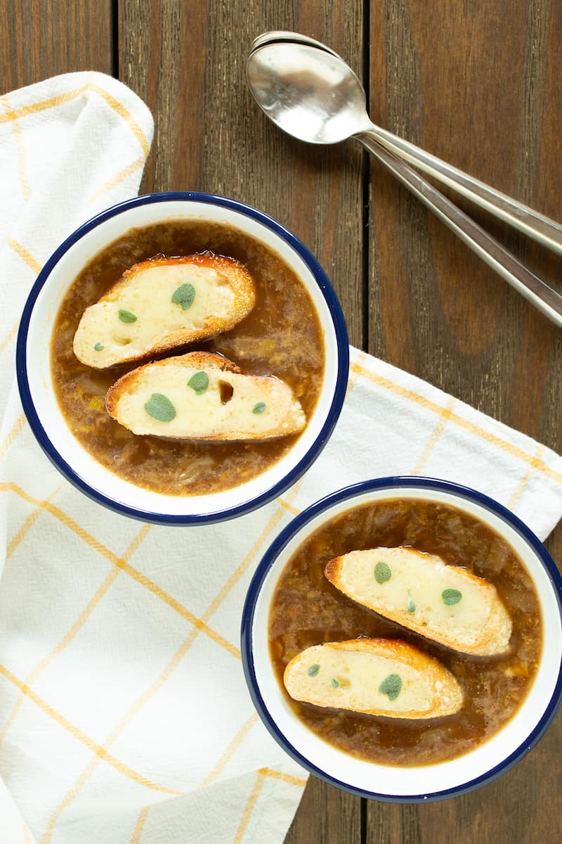 French leek and onion soup is a hearty comfort when the weather is less than perfect.