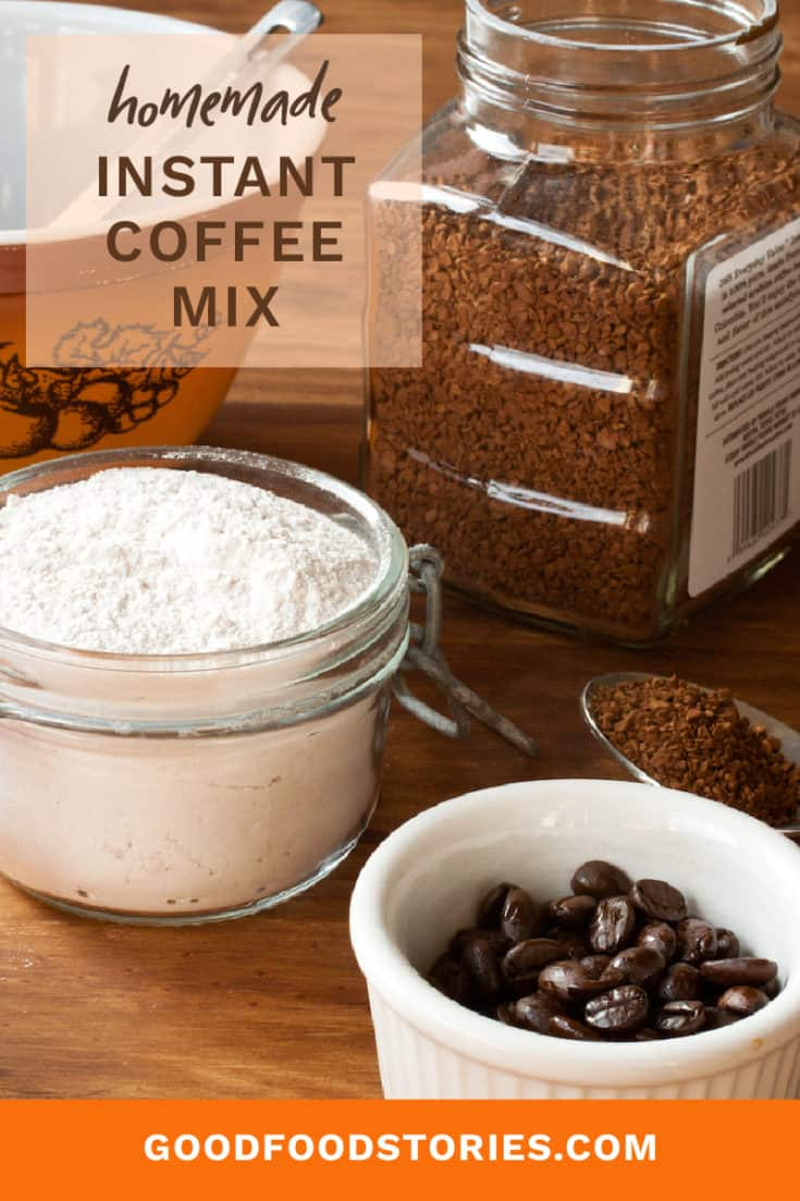 Homemade instant coffee mix can be made in minutes and keeps in the pantry almost indefinitely. Make a batch and never run out of coffee or milk! #instantcoffee #homemade #coffeemix #milkpowder