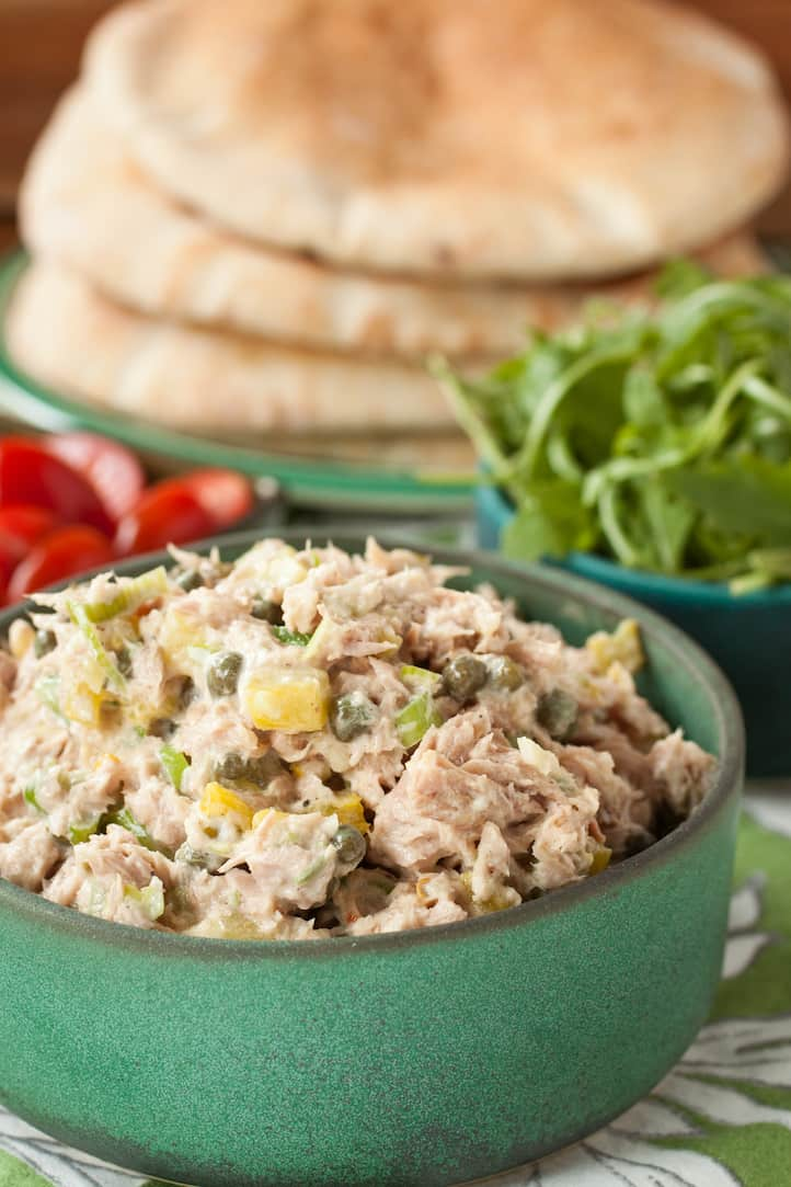 Capers, scallions, sweet pickles, and garlic make this caper tuna salad the best and briniest you'll ever eat. Not kidding. #tunasalad #tunasandwich