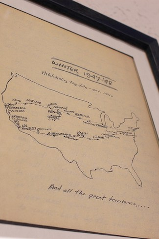 Jack Kerouac's hitchhiking map, via www.www.goodfoodstories.com