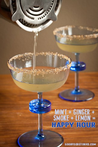 smoky mint ginger-ade with bourbon smoked sugar, via goodfoodstories.com
