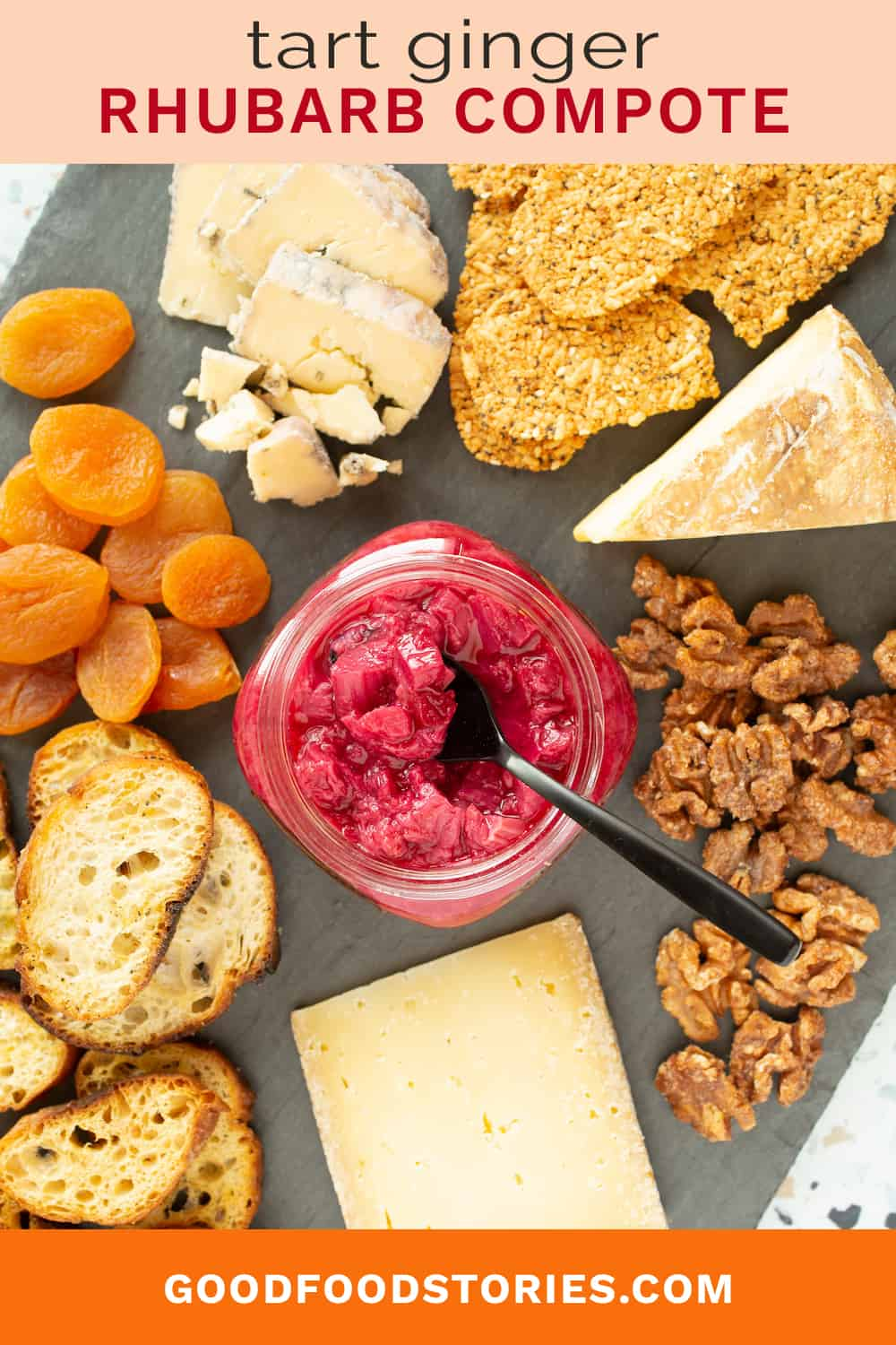 rhubarb compote with cheese board
