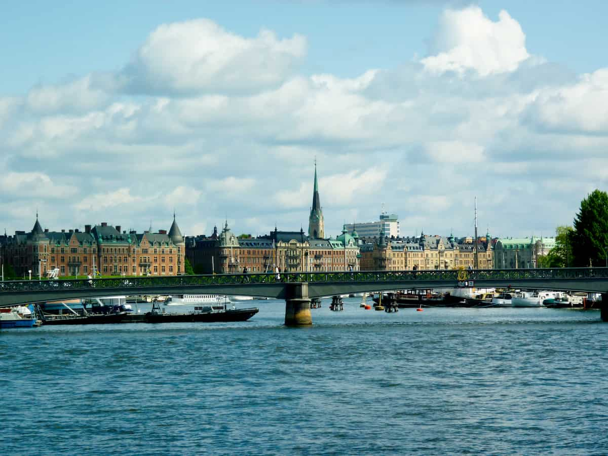 Stockholm buildings and bridge over a river