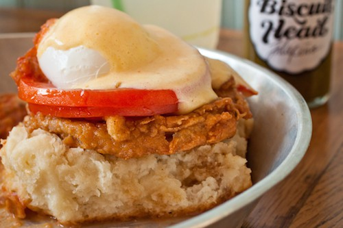 fried green tomato biscuit from Biscuit Head in Asheville - via goodfoodstories.com