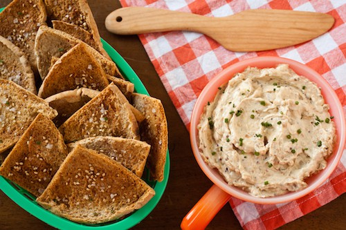 French onion dip with ramps and sesame-mustard pita chips, via www.www.goodfoodstories.com