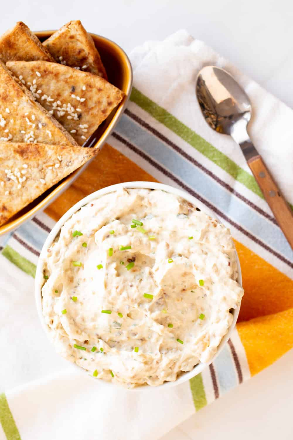 french onion dip with pita chips