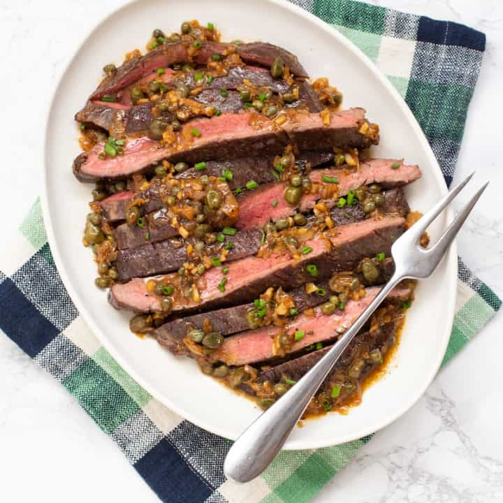Steak with caper sauce