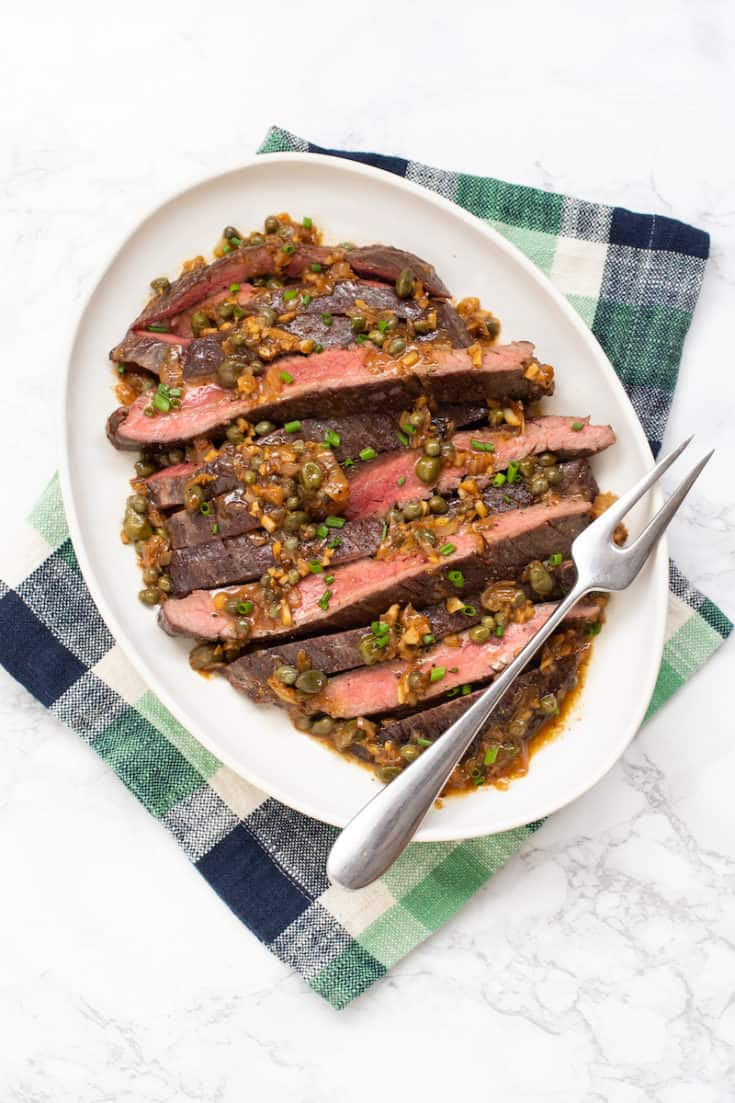 Steak with caper sauce is a Swedish specialty you can make at home for a quick weeknight dinner. #steak #capers