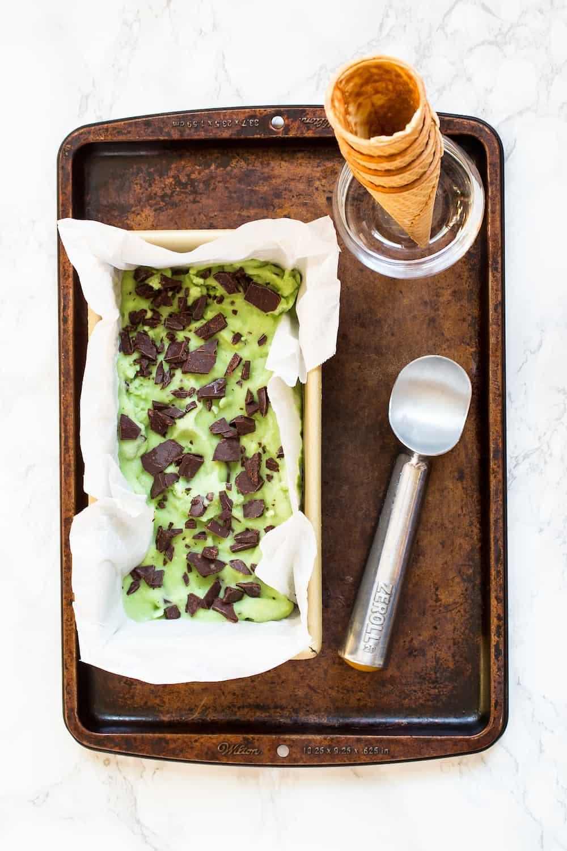 vegan basil mint chip ice cream