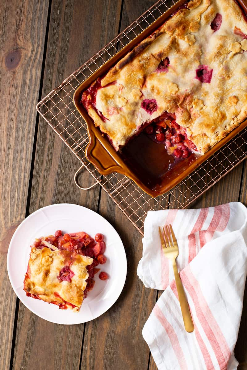 deep dish sour cherry peach pie